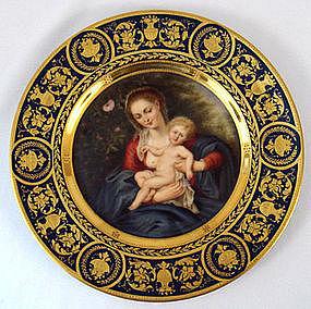 Vienna Style Madonna & Child Cabinet Plate