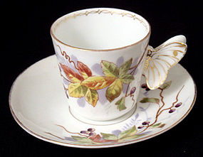 Antique Continental Tea Cup & Saucer, Butterfly Handle