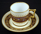 Antique Jeweled Dresden Demitasse Cup & Saucer