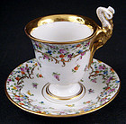 Rare Antique Dresden Peacock Cup & Saucer