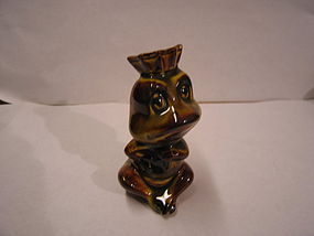 Frog with Crown Figurine