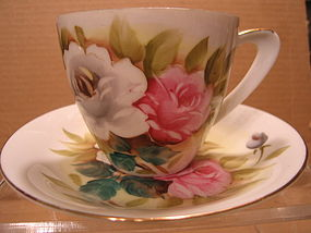 White and Pink Rose Teacup and Saucer