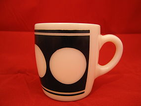 Milk Glass Mug Black Circles