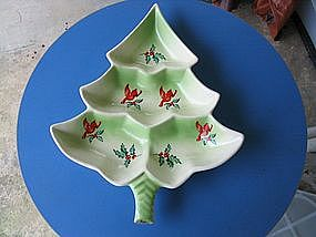 Red Bird Christmas Tree Dish