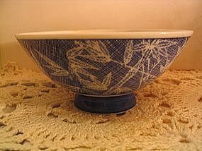 Cobalt Blue Bamboo Rice Bowl
