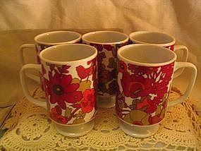 Vintage Red Flowers Mug
