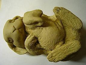 Hen-Feathers Rabbit Statue