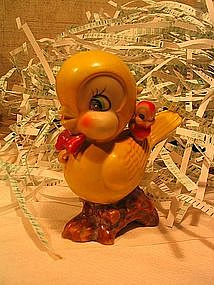 Yellow Mother and Baby Bird Figurine