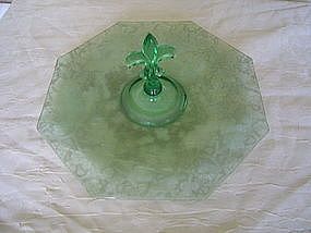 Fostoria Green Brocade Oak Leaf Tray