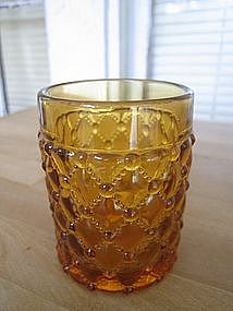 Amber Hobnail Diamond Glass