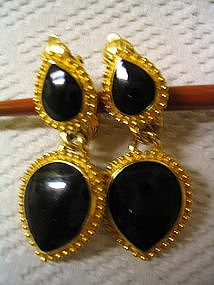 Trifari Onyx Earrings