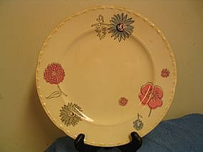 Crooksville China Plate Pink Blue Flowers