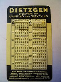 Dietzgen 1949 Calendar Card