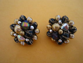 Black and Gold Bead Earrings
