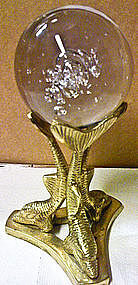 Glass Ball with Dolphin Stand
