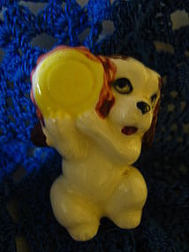 Puppy with Food Dish Figurine