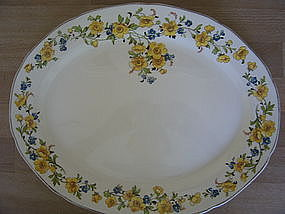 Platter with Blue and Yellow Flowers