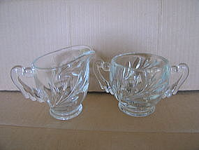 Indiana Glass Willow Sugar and Creamer