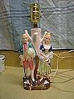 Vintage Colonial Couple Lamp