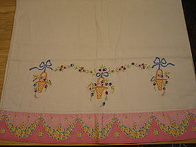 Vintage Embroidered Pillowcase