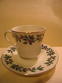 Baum Bros Holly Cup and Saucer