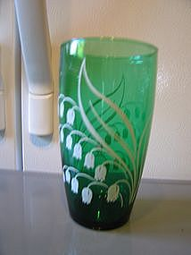 Anchor Hocking Forest Green Tumbler Flowers