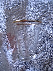 Gold Trim Anchor Hocking Whiskey Glass