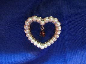 Avon Pearl Heart Pin