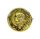 Art Nouveau 14K Gold & Diamond OPHELIA Medallion Pin