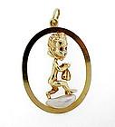 Ruser 14K Gold Sapphire Pearl THURSDAYS CHILD Pendant