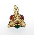 Etruscan Style 18K Gold Carnelian Chalcedony Fob Charm