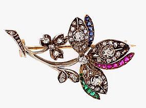 Victorian18K Diamond Ruby Emerald Sapphire Floral Pin