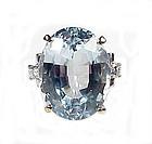 Vintage 14K White Gold, Aquamarine & Diamond Ring
