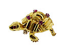 Cartier 18K Yellow Gold & Ruby Turtle Brooch
