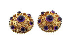 18K Gold & Amethyst Venetian Etruscan Earrings