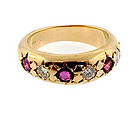 Man�s 14K Gold, Diamond & Ruby Gypsy Ring