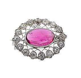 Edwardian Platinum Diamond Rubellite Pendant/Brooch