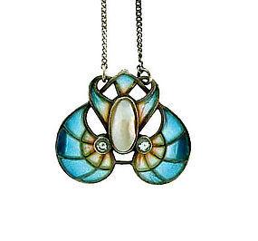German Art Nouveau Silver Plique-A-Jour Enamel Pendant