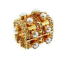 Venetian Etruscan 18K Pearl Treasure Chest Fob Charm