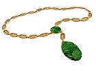 Art Deco 14K Yellow Gold Filigree Jadeite Necklace