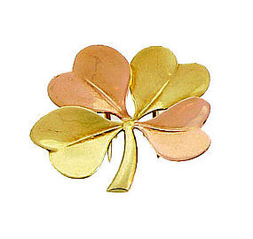 Tiffany Retro 14K Yellow & Rose Gold 4-Leaf Clover Pin