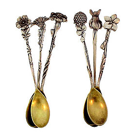 6 Tiffany & Co. Sterling Silver FLORAL Demitasse Spoons