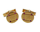 Vintage 14K Gold & Ruby Cufflinks