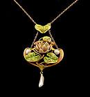 Art Nouveau 14K Gold, Enamel & Pearl  Waterlily Pendant