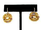 Victorian 18K Diamond Ruby Sapphire Loveknot Earrings