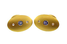 Victorian 14K Diamond Color-Change Sapphire Cufflinks