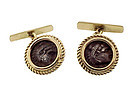 14K Gold & Ancient Alexander the Great Coin Cufflinks
