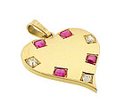 Retro 18K Gold, Ruby & Diamond Heart Pendant/Charm