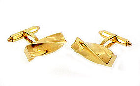 14K Yellow Gold Twisted Baton Cufflinks