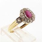 Victorian 14K Gold, Ruby & Diamond Ring